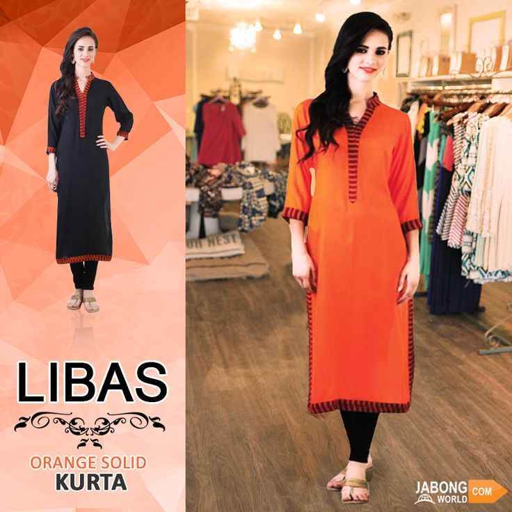 Buy this simple & suave solid orange Kurta by Libas, now at 31% OFF. CHECK IT OUT--> http://www.jabongworld.com/orange-solid-kurta-1718648.html?utm_source=ViralCurryOrganic&utm_medium=Pinterest&utm_campaign=LibasOrangeSolidKurta-06Jan