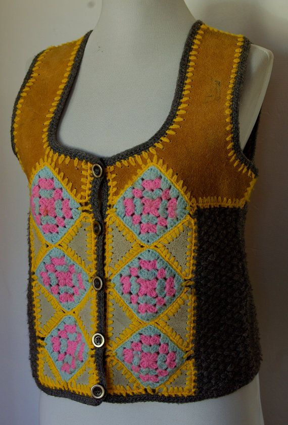1960's 70's Vintage Brown Calf Skin Leather and Crochet Patchwork Vest