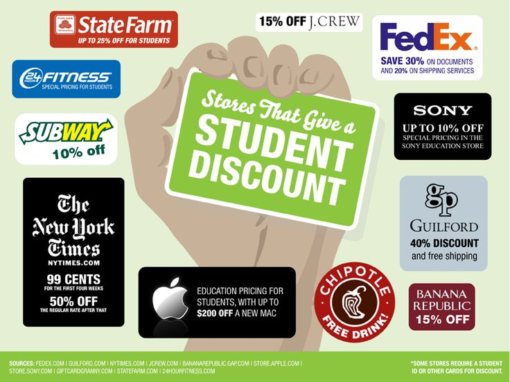 100+ Stores That Give a Student Discount - Best Colleges Online. So this isn't specifically apartment related, but I thought you'd like to know.