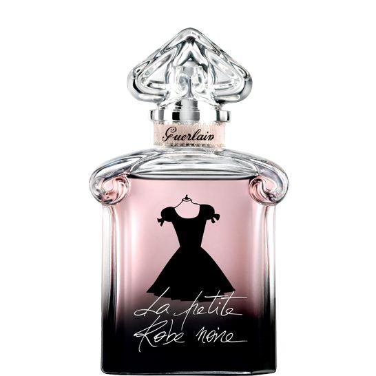"""Je suis absolument indispensable et totalement irrésistible. Je suis la création parfumée Guerlain chic et terriblement glamour.  Ma fragrance est une broderie des plus belles notes """"noires"""" de la parfumerie: Cerise noire, Rose noire, Patchouli, Thé noir. Mon écrin de verre est le flacon mythique """"cœur inversé"""", revisité avec audace et modernité. Dans sa transparence cristalline, dégradée du noir au rose poudré, je dévoile ma petite robe noire en ombre chinoise, prête à danser!"""