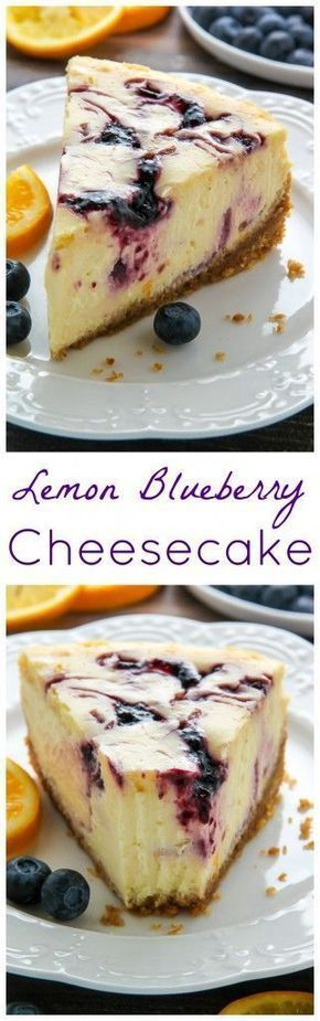 Lemon Blueberry Swirl Cheesecake Dessert Recipe via Baker by Nature - Supremely smooth and creamy homemade Lemon cheesecake topped with fresh Blueberry swirls. All layered on top of a buttery homemade graham cracker crust.
