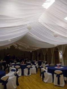 Utah Wedding ceiling canopy rental, False ceilings for parties, weddings, quinceaneras, gym wedding wall covering - Amor Decor Weddings   Enchanted Ceiling $500 (+$100 for stake center) Beautiful chiffon fabric elegantly draped in a tent style ceiling enhanced with lighting and white lanterns that will totally transform you venue! Add to another package for $400
