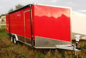 8.5 ' x 20 ' Red Aluminum Enclosed Car Trailer by Lightning