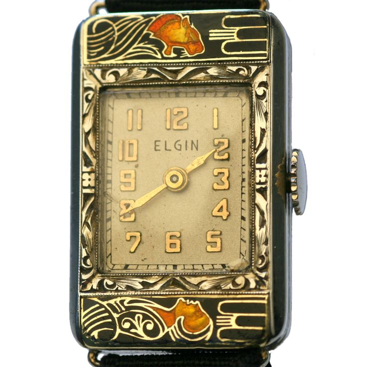 "Elgin ""Lady and the Lioness"" Deco Enamel Ladies Wrist Watch. Made for Elgin Watch Co. ca. 1920s, Designed by Lucien Lelong.."