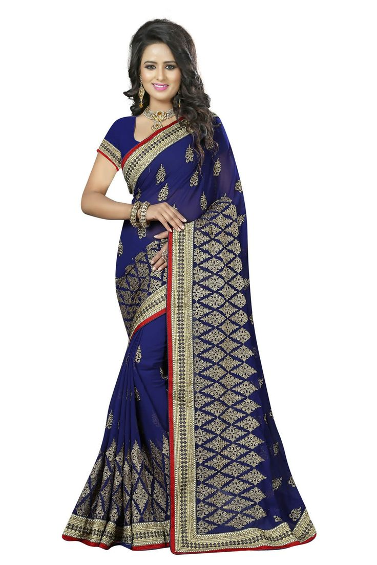 buy saree online Blue Colour Georgette Jari Embroidery and Stone Work Saree  Buy Saree online UK  - Buy Sarees online