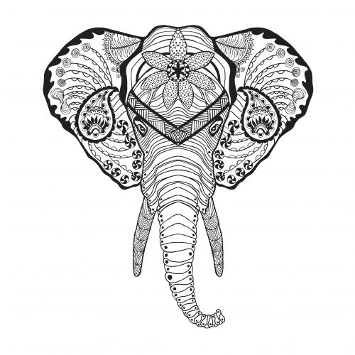tribal elephant coloring pages for adults | 315 best images about Adult Colouring~Elephants~Zentangles ...