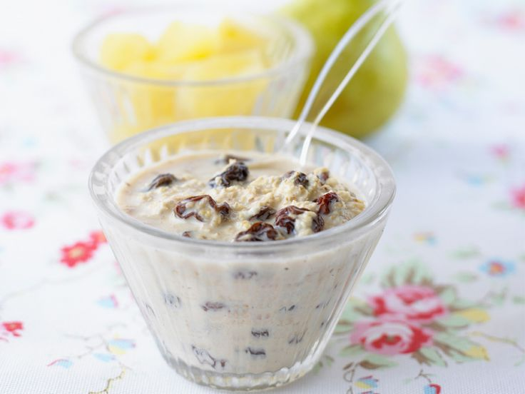This makes a delicious and nutritious baby breakfast. You will need to soak the oats for a few hours or overnight to make this delicious breakfast and it is a good idea to keep portions of apple and pear puree in the freezer to mix in quickly with the muesli in the morning.