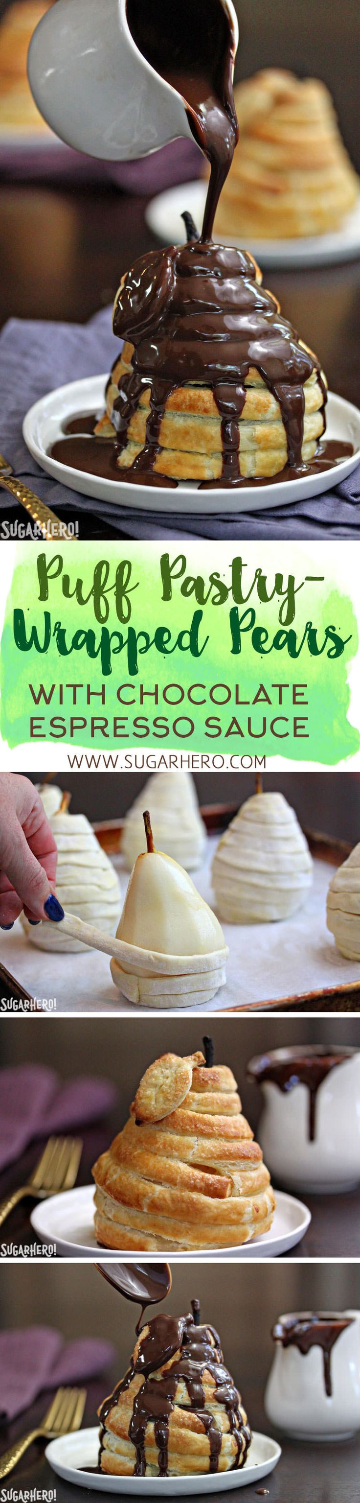 These puff pastry-wrapped pears are so elegant, you won't believe how easy they are to make! Serve them with chocolate espresso sauce for the perfect bittersweet accompaniment. | From SugarHero.com