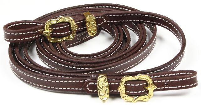 Portuguese rein with buckle. Colour brown and black with brass.