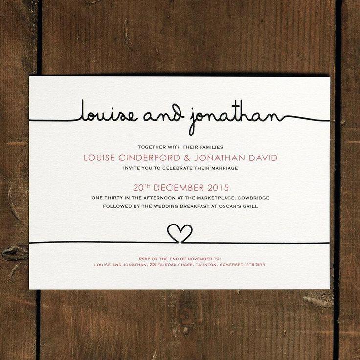Scribble Handwriting Wedding Invitation Set On Luxury Card   Modern Wedding  Invites, Wedding Invitations UK