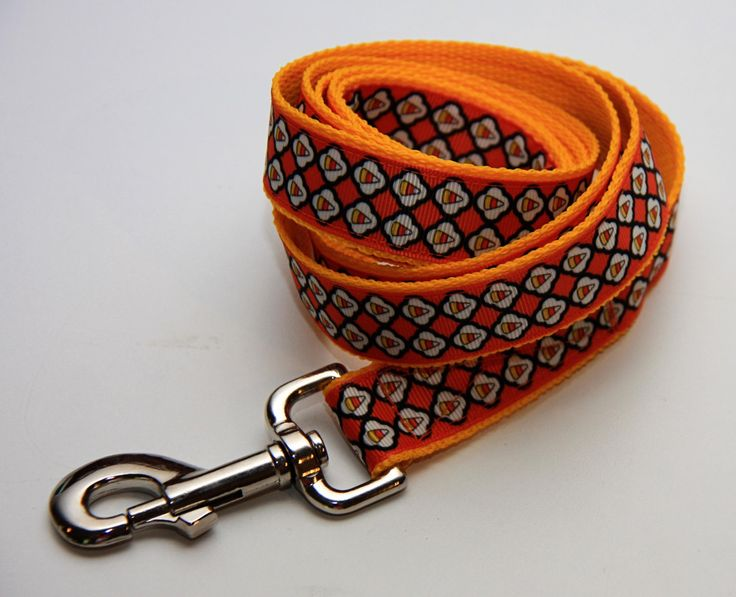 """Halloween Candy Corn 1"""" Dog Leash by Bonzai Gifts by Pet Nanny on Etsy"""