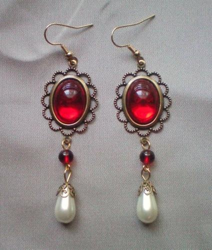 Catherine of Aragon Ruby Earrings.  REminder: demo all the SCA jewelry I'm not wearing and make it into new things.