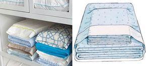 Dica para dobrar os lençóis de cama - junte tudo em um pacotinho e coloque dentro de uma das fronhas!