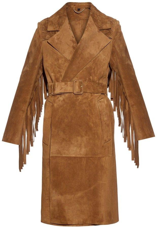 BURBERRY PRORSUM Fringed suede coat