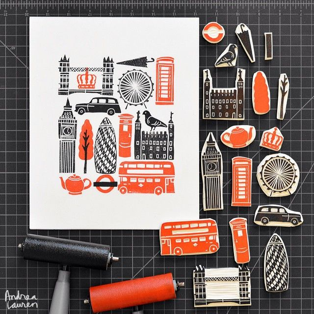 Carving lots of leftover bits of block as typical London icons and enjoyed putting it all back together for the print. These are always very fun to make!