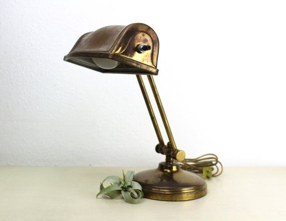 Vintage Brass Desk Lamp Small Adjustable Office Task Lighting Etsy Desk Lamp Brass Desk Lamp Lamp