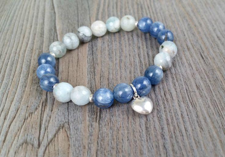 Bracelet de pierres fines Kyanite Grade AA et aigue-marine naturelles multitons facetées Grade AA - coeur en argent sterling de la boutique BijouxDesignselect sur Etsy