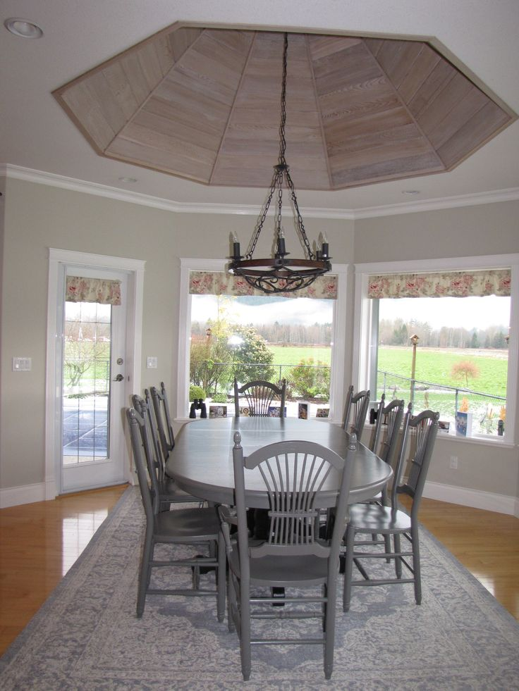 Painted Dining Table, Lighting, Beautiful Area Rugs, Cedar Planked Ceiling, Elegant Farmhouse