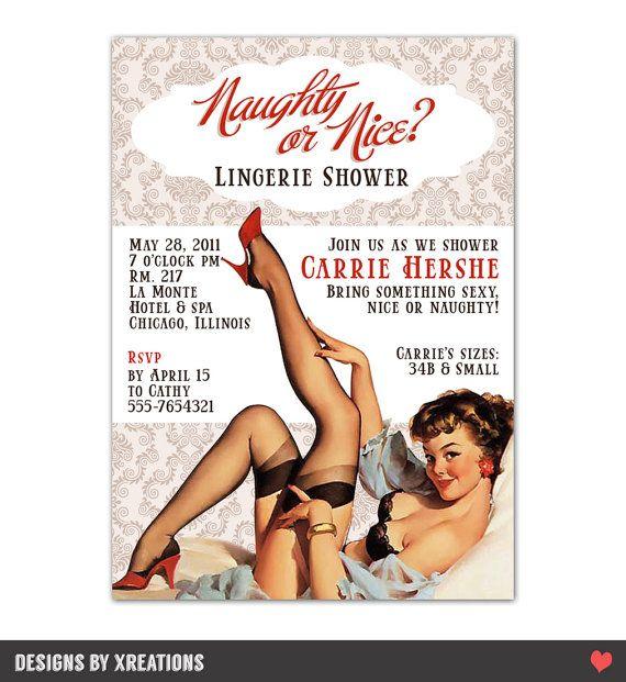 Sexy Retro Lingerie Bridal Shower Pinup Invitation