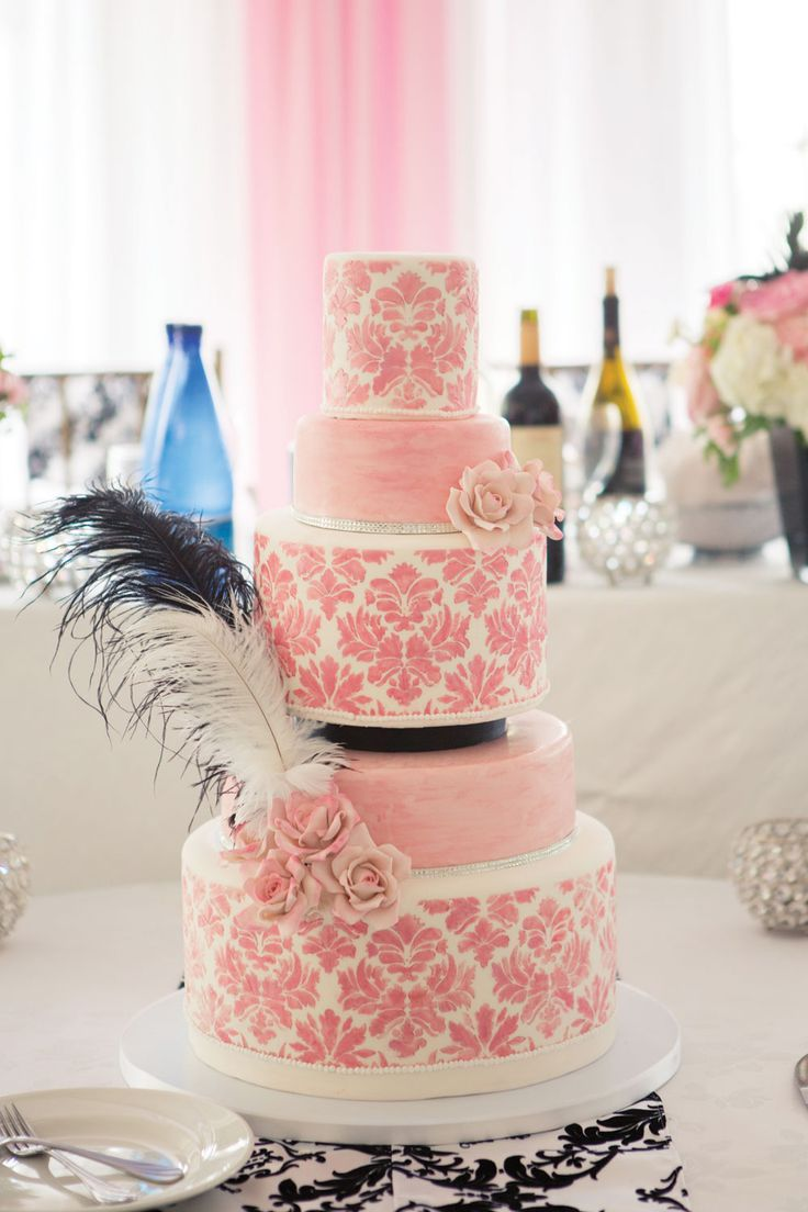 Pink damask wedding cake for an Old Hollywood wedding in Caledon, Ontario. Photo by Christine Lim.