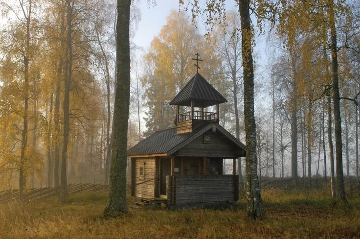 A peaceful place - tsasouna church in Carelian village in Eastern Finland