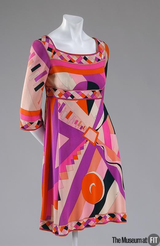 "Emilio Pucci c1965. | ""The simple, tubular mini dress was ubiquitous during the 1960s, and its silhouette fused perfectly with Emilio Pucci's colorful, energetic prints. The streamlined shape of the dress forms a canvas that showcases the vibrancy of the Op Art-infused pattern. Practical and elegant, it underscores Pucci's reputation for clothing that was full of vitality."" (Museum at FIT)"