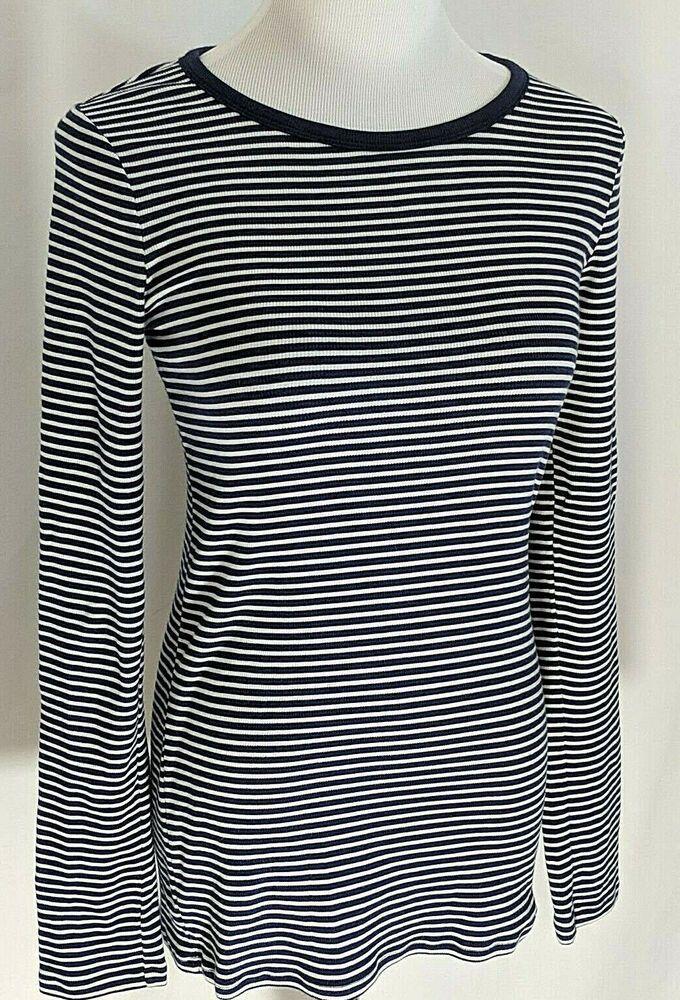 03c5c056e1 Gap Women's Striped T-shirt Long Sleeves Blue White Cotton Spandex Size M # Gap #TShirt #Casual