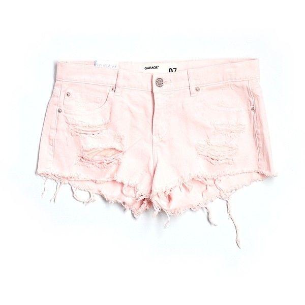 Garage Denim Shorts ($12) ❤ liked on Polyvore featuring shorts, light pink, short jean shorts, denim short shorts, denim shorts, jean shorts and light pink shorts