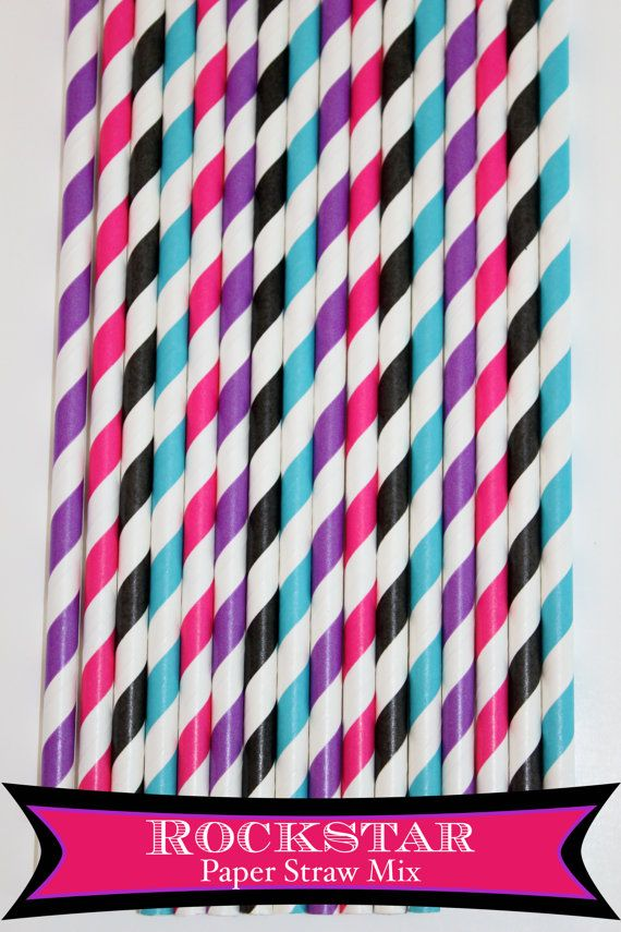 50 Girl Rockstar Paper Straw Mix  PAPER STRAWS by PartyDelights, $8.00
