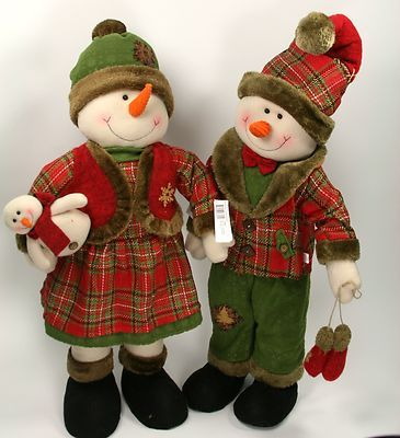"2 PC Snowman BOY Girl SET 24"" Country Plaid Holiday Christmas Decor 27694 95 