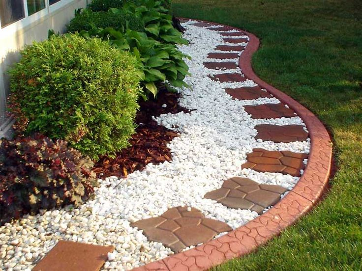 Back yard landscape 6 excellent concrete flower bed for Rock flower garden ideas