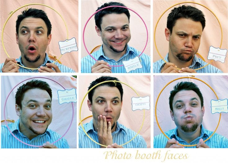Homemade photo booth - using embroidery hoops and labels