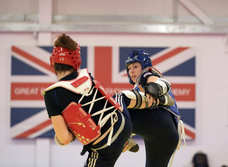 Bianca Walkden (R) trains during the announcement of taekwondo athletes named in Team GB for the Rio 2016 Olympic Games at the National Taekwondo Centre on June 22, 2016 in Manchester, England.