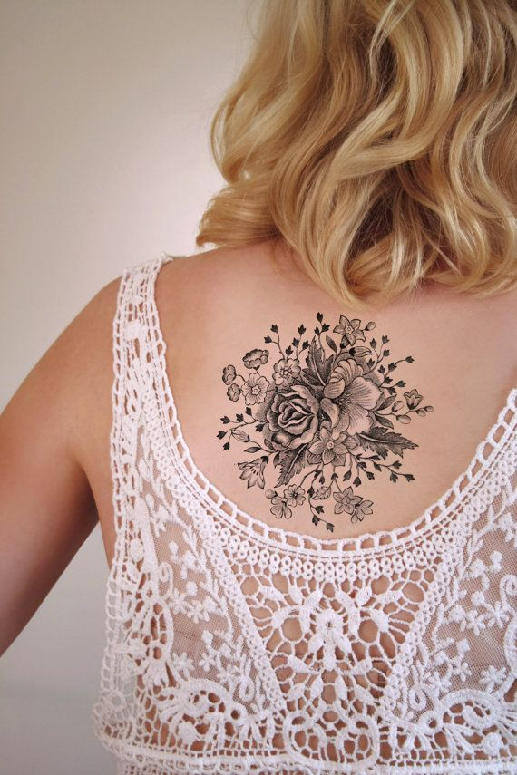 Large floral temporary tattoo / rose temporary tattoo / flower temporary tattoo…