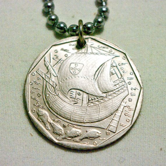PORTUGAL Coin Necklace 50 Escudos 2000 by AlterDecoCoinsnBeads