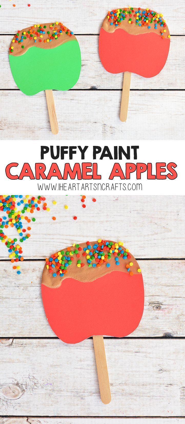 Puffy Paint Caramel Apple Craft For Kids Fun Activities