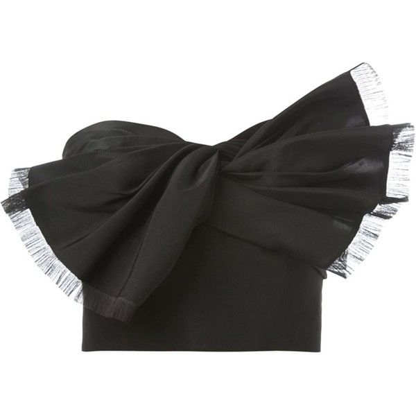 Oscar de la Renta strapless bow ribbon crop top ($2,230) ❤ liked on Polyvore featuring tops, black, strapless crop top, bow crop top, crop tops, silk crop top and bow top