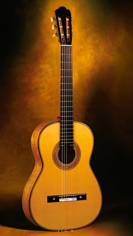Classical Guitars Simon Ambridge, England Antonio de Torres 1887 SE 111 Model Classical Guitar Birdseye maple/spr. Rodgers Tuning Machines Pre-Owned 2008 $11,500.00 Inquire Here: 216.752.7502 Very old book matched Birdseye maple sides and back, old straight grain European spruce soundboard, immaculate French polish of shellac finish, custom Rodgers precision tuning machine heads (the finest in the world) with synthetic ivory oval buttons (reproductions of old Jerome machine heads).