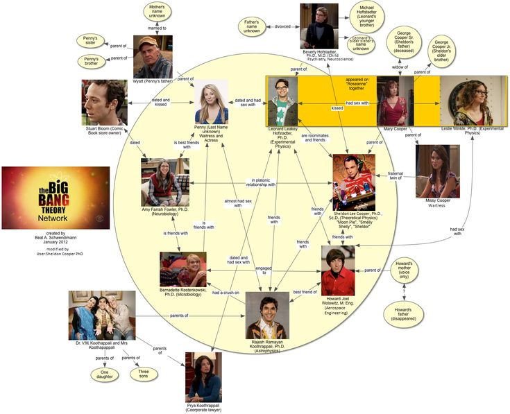 This diagram illustrates the complex relationships between The Big Bang Theory characters