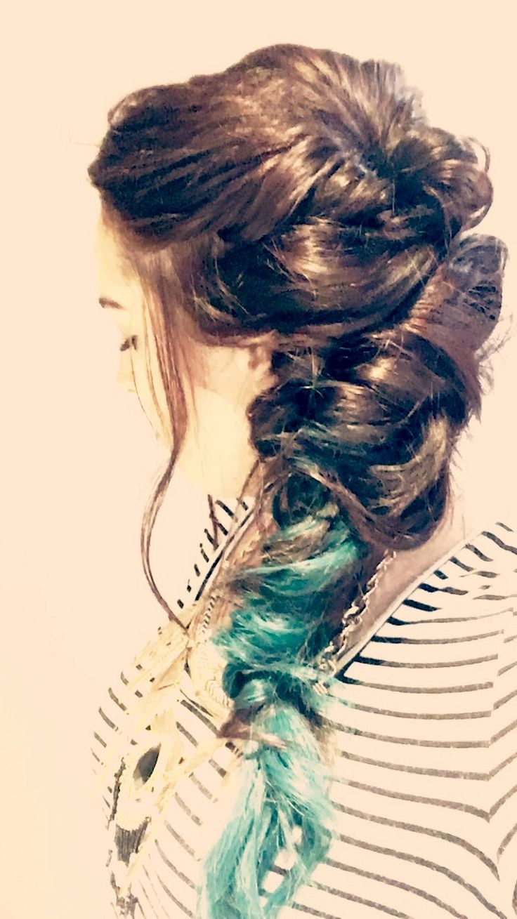 Updo half-up curls ponytail teal hair extensions