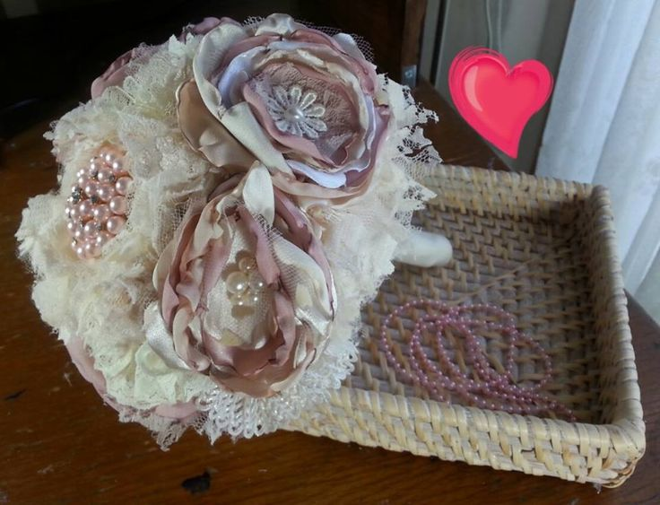 Vintage cream and dusty pink silk and lace custom made bouquet made by Bouquets and Beyond. An everlasting piece used for a Melbourne wedding