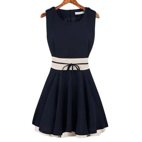 Shop Color Block Self-tied Pleated Navy-blue Dress at Pariscoming, personal  womens clothing online store! high quality, cheap and big discount, ...