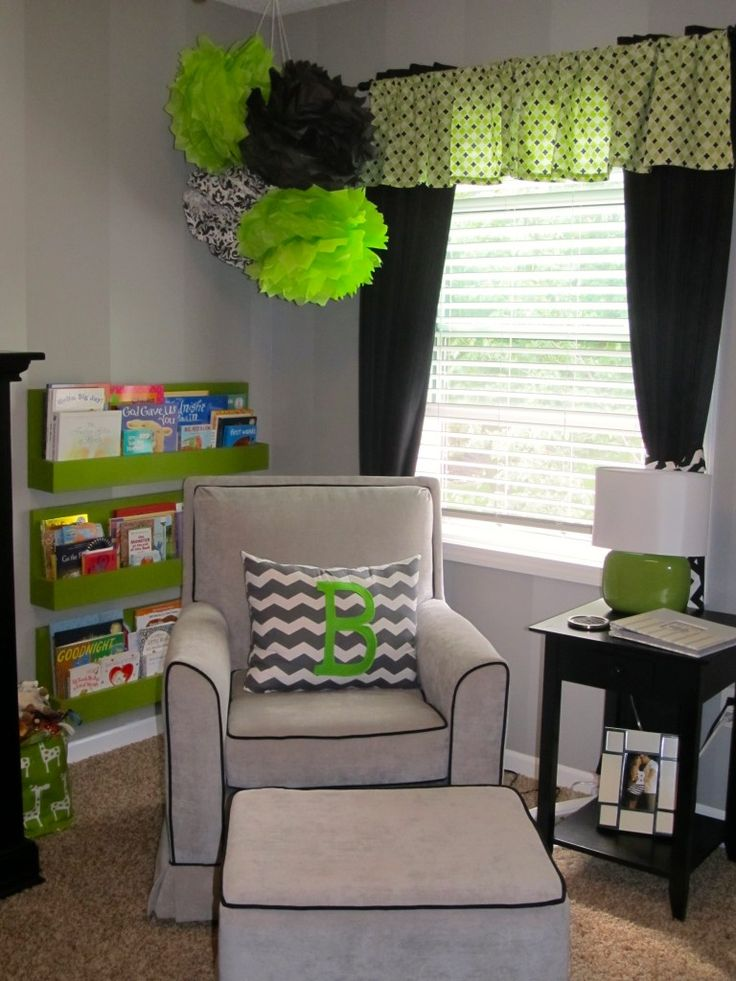 Super fun #LimeGreen #poms, #valance and small accents.  #nursery #initialpillow