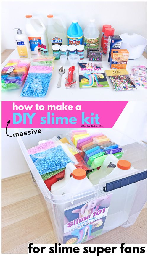 0707b49f0 If you have a slime loving child, consider putting together this massive DIY  Slime Kit