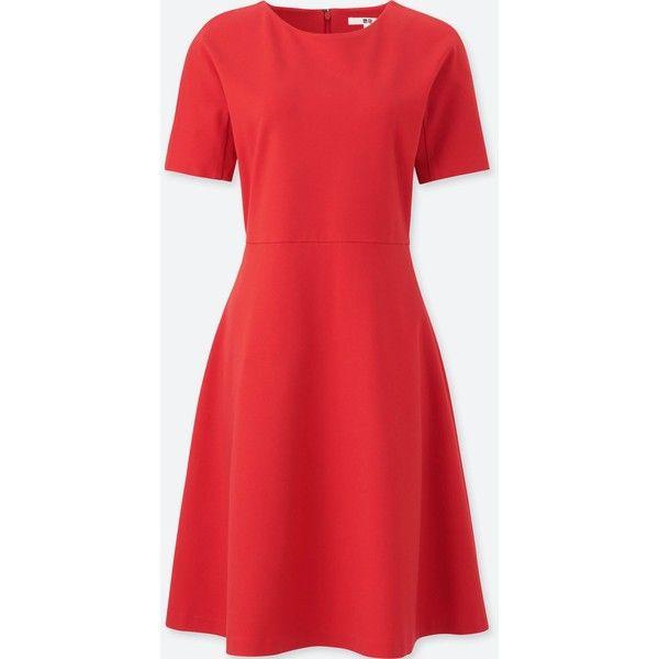 UNIQLO Women's Ponte Half Sleeve Dress ($40) ❤ liked on Polyvore featuring dresses, orange, uniqlo dress, stretch dresses, red ponte dress, elbow length sleeve dress and dressy dresses