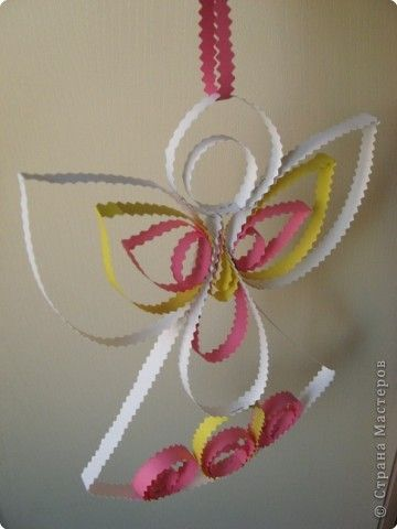 Мастер-класс, Поделка, изделие Квиллинг: Как сделать ангелочка-подвеску МК Бумага Новый год, Пасха. Фото 1
