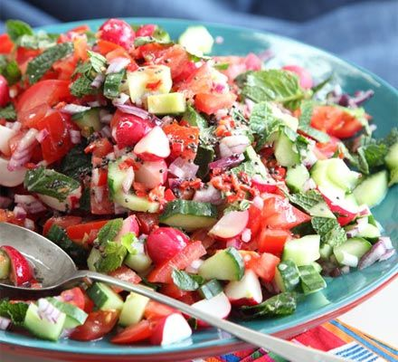 Crunchy radish & tomato salad. Cheap to make and good for you too, this colourful side salad works well with curry