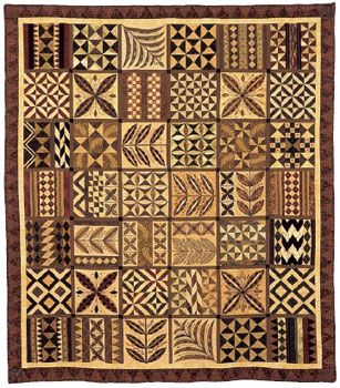 Pacific Tribute  by Hazel Foot, Auckland This quilt was inspired by traditional tapa cloth designs and it is a tribute to the skills & cultural heritage of the Pacific People.  Tapa is a paper-like cloth made from the inner bark of the paper mulberry tree & is block printed.