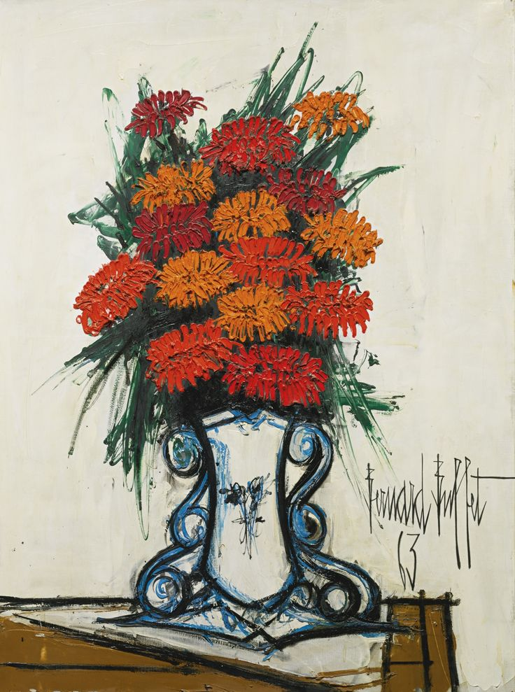 Bernard Buffet - Bouquet de Fleurs, 1963, oil on canvas