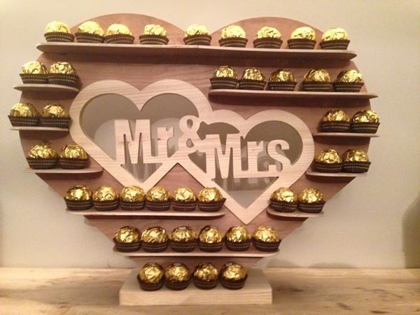 Mr & Mrs Ferrero Rocher Stand with solid wood removable centre piece for Weddings